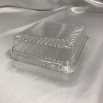 "B07-OME-H004 Clear Hinged PET Container 5.8""x5.8""x2.5"" 200/cs"