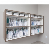 Delivery bag system, eyewear storage system, in cabinet bag storage
