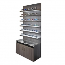 locking shelf eyewear display, optical furniture, LED lit display, LED lit eyewear display