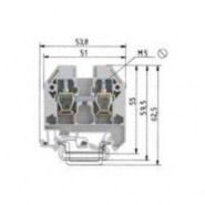 WIE-5751001550 WK10/U DIN Rail Feed Thru Block 16-6ga 70A - Grey
