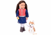 013381 OG DOLL & PET LESLIE BRUNETTE W/ HUSKY
