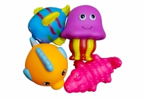 013558 SQUEAKY TOYS SEA CREATURES 4 PCE