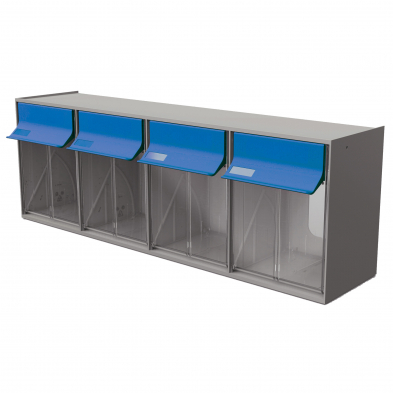 TB42GB Tilt Bin G2 - 4 bins (Grey/Blue)
