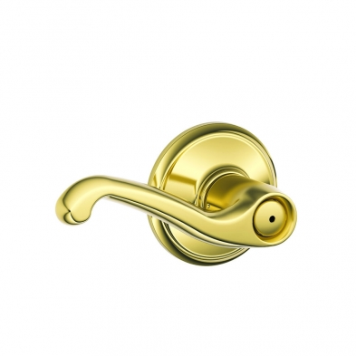 SC/F40-FLA-605 Schlage F40-FLA-605 Privacy Lock, Flair Lever, Bright Brass