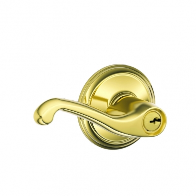 SC/F51A-FLA-505 Schlage F51A-FLA-505 Entry Lock, Flair Lever, Lifetime Brass