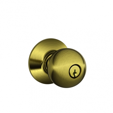 SC/F51A-ORB-609 Schlage F51A-ORB-609 Entry Lock, Orbit Knob, Antique Brass