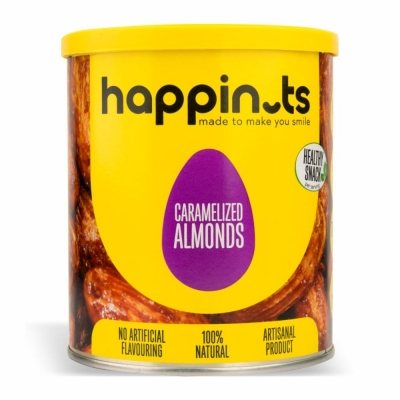 17-665-1 HAPPYNUTS CARAMELIZED ALMONDS 12/400 GR