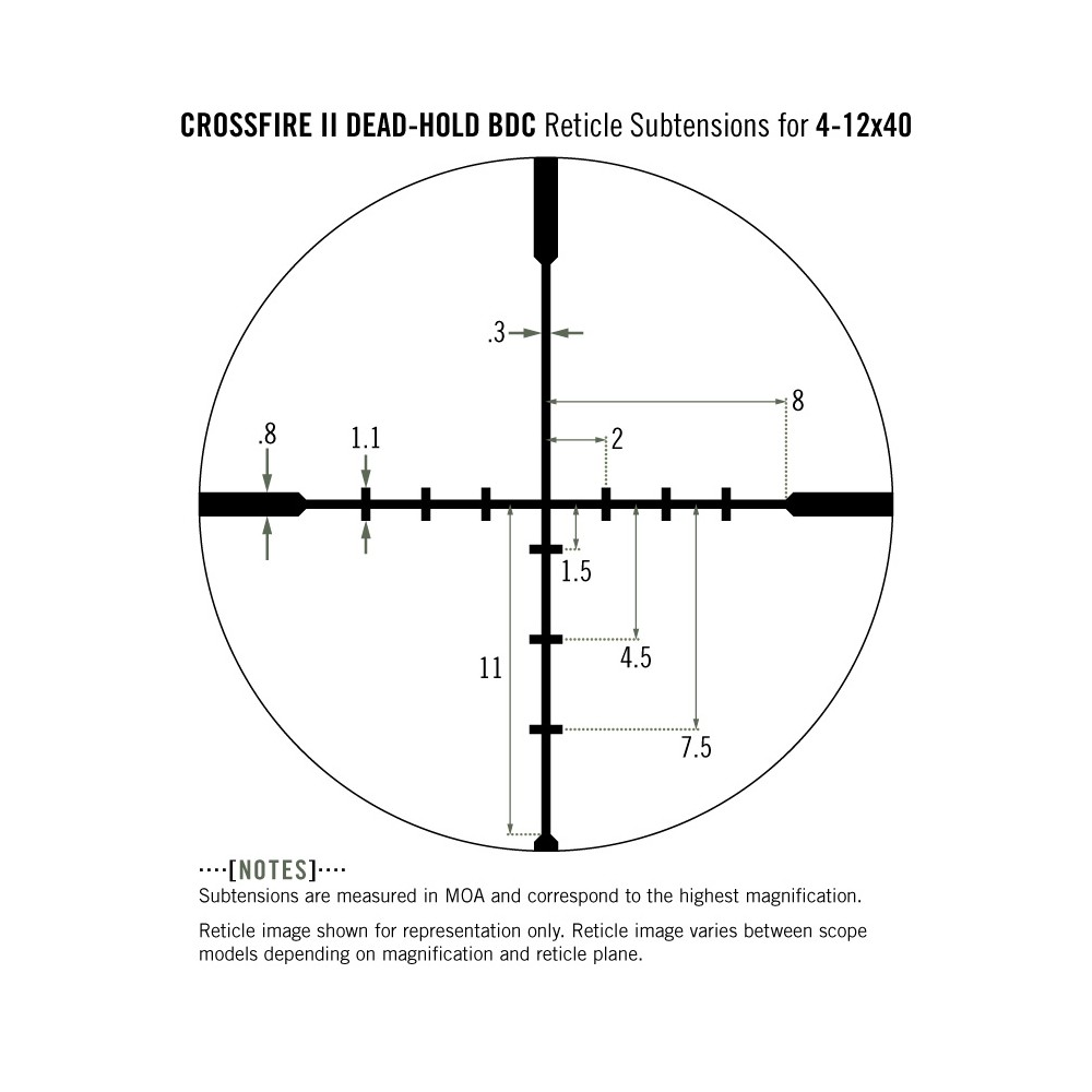 Dead-Hold BDC Reticle CF2-31019 Vortex Crossfire II 4-12x40 AO Rifle Scope