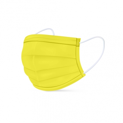 0278-MEDP/NY MEDIPOP DISPOSABLE MASK NEON YELLOW 5PK