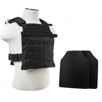 "Fast Plate Carrier w/UHMWPE Curved 10""X12' Level IIIA Shooter's Cut 2X Hard Ballistic Plates [Small-2XL]"
