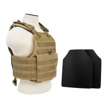 "2924 Plate Carrier w/UHMWPE 10""X12' Level IIIA Shooter's Cut 2X Hard Balllistic Panels [Med-2XL]"