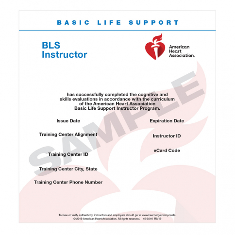15-3016 2015 AHA BLS Instructor eCard