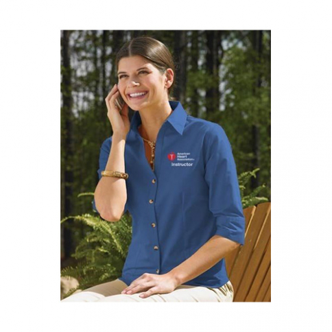 40-220 AHA Women's 3/4 Sleeve Dress Shirt - Blue - XL