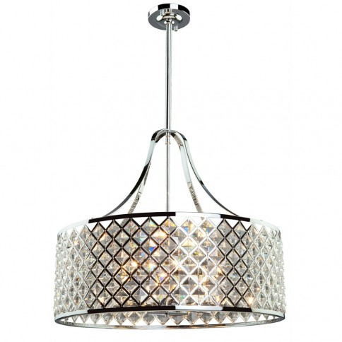 AC10426 Lattice 6 Light  Chrome Chandelier