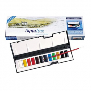 Daler-Rowney Aquafine Watercolor Whole Pan travel set of 12