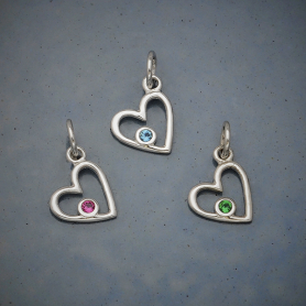 Sterling Silver Birthstone Heart Charms