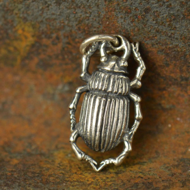 A1024   -SV-CHRM Sterling Silver Beetle Charm - Bug Charm