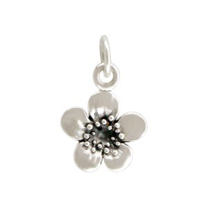 Sterling Silver Plum Blossom Charm - Flower Charm - Single