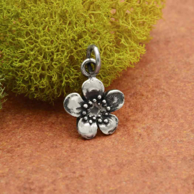 A1042   -SV-CHRM Sterling Silver Plum Blossom Charm - Flower Charm - Single