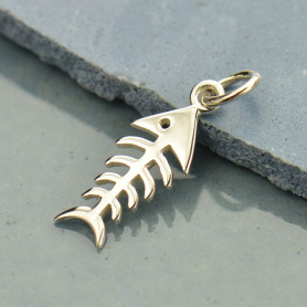 A1043   -SV-CHRM Sterling Silver Fishbone Charm - Animal Charm
