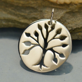 A1047   -SV-CHRM Sterling Silver Tree Pendant - Cutout Tree on Round Charm