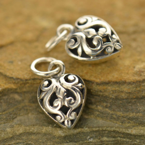 A104    -SV-CHRM Sterling Silver Heart Charm with Open Scroll Work