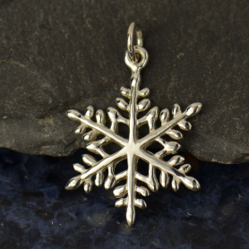 A1056   -SV-CHRM Sterling Silver Large Snowflake Charm - Christmas Charms