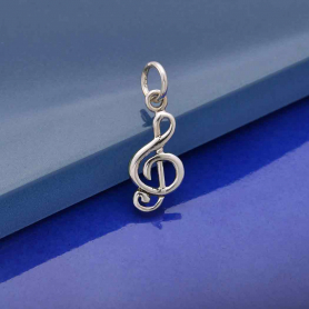 A1064   -SV-CHRM Sterling Silver Music Note Charm - Treble Clef
