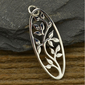 A1072   -SV-CHRM Sterling Silver Tree of Life Pendant - Oval Openwork