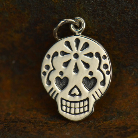 A1073   -SV-CHRM Sterling Silver Sugar Skull Charm - Small