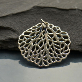 A1074   -SV-CHRM Sterling Silver Sea Fan Round Pendant