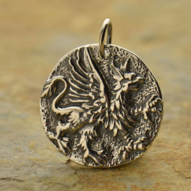 A1088   -SV-CHRM Sterling Silver Ancient Coin Charm - Griffin