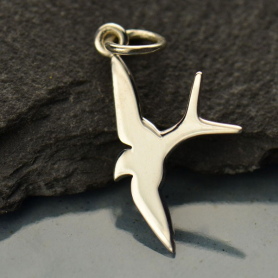 A1101   -SV-CHRM Sterling Silver Swallow Bird Charm - Flat