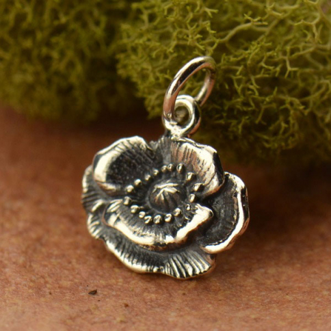 A1105   -SV-CHRM Sterling Silver Poppy Charm