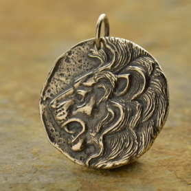 A1108   -SV-CHRM Sterling Silver Ancient Coin Charm - Lion Head