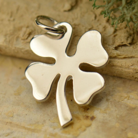 A1115   -SV-CHRM Sterling Silver Clover Charm - Large Four Leaf Clover