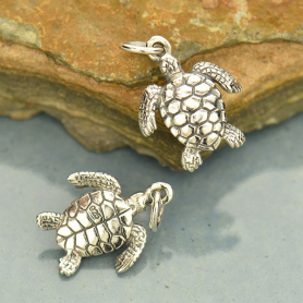 A1121   -SV-CHRM Sterling Silver Sea Turtle Charm - Beach Charm