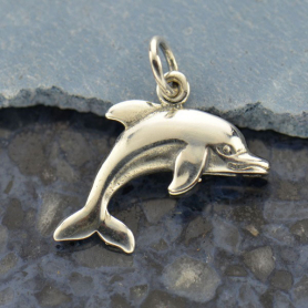 A1124   -SV-CHRM Sterling Silver Dolphin Charm - Beach Charm