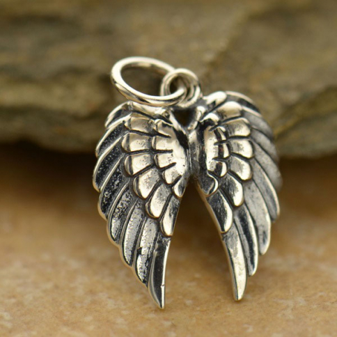 A1128   -SV-CHRM Sterling Silver Double Wing Charm -19mm