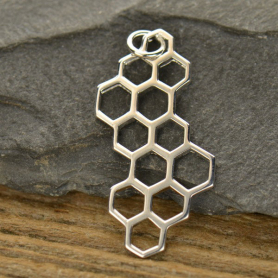A1147   -SV-CHRM Sterling Silver Honeycomb Charm