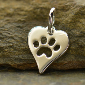 A1161   -SV-CHRM Sterling Silver Heart Charm with Paw Print - Pet Charm