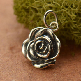 A1163   -SV-CHRM Sterling Silver Rose Charm - Textured