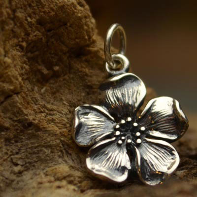 A1171   -SV-CHRM Sterling Silver Large Cherry Blossom Charm
