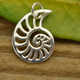 A1179   -SV-CHRM Sterling Silver Nautilus Charm - Beach Charm - Openwork
