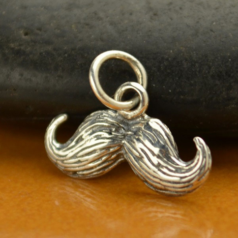 A1197   -SV-CHRM Sterling Silver Mustache Charm - Textured DISCONTINUED