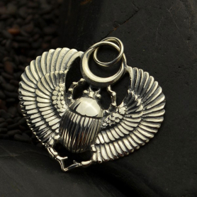 A1200   -SV-CHRM Sterling Silver Egyptian Scarab Pendant with Wings