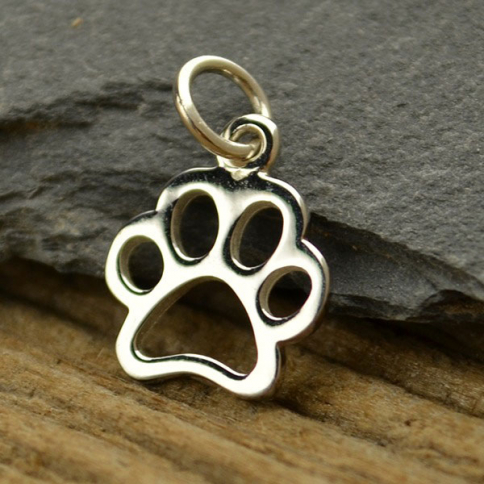 A1209   -SV-CHRM Sterling Silver Paw Print Charm - Pet Charm - Openwork