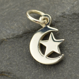 A1211   -SV-CHRM Sterling Silver Moon Charm with Star
