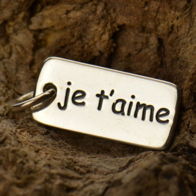 A1223   -SV-CHRM Sterling Silver Word Charm - Je Taime I Love You