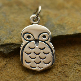 A1229   -SV-CHRM Sterling Silver Owl Charm - Animal Charm - Flat DISCONTINUED